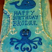 Preppy whale buttercream cake design