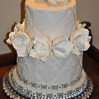 White Magnolia Wedding Cake