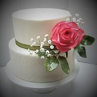Cake with a sugar rose