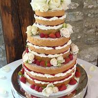 Naked wedding cake. by Sandra Monger