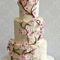 Tree Trunk, Cherry Blossom Wedding Cake