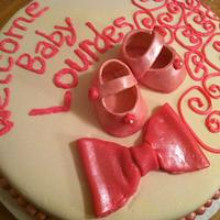 Baby Shower Cake -Pink Baby Shoes