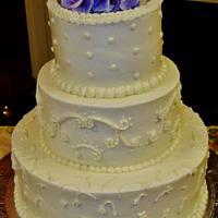 3 Designs in one wedding cake