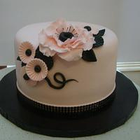 Pink/Black Birthday Cake by Colormehappy