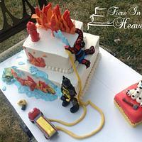 Batman spiderman firefighter cake