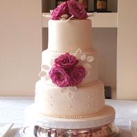 Pink Rose & Lace Wedding Cake