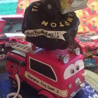 Tonka Truck, Tire, and Firetruck Cake