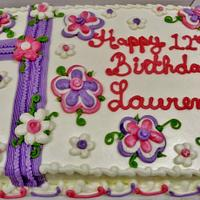 Whimsical pink & purple BC floral cake