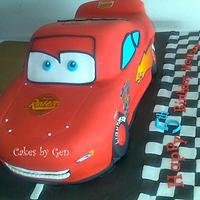 My first Lightning McQueen Cake