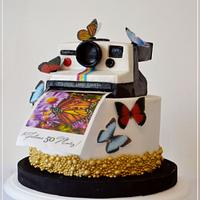 Polaroid and butterflies cake!