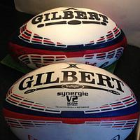 Hand painted rugby ball cake