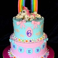 Unicorn rainbow cake for Avery