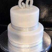 60 silver  birthday cake