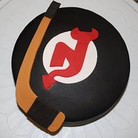 NJ Devils hockey cake