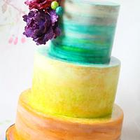 Colourful Watercolour Cake with Handmade Glitter Peonies