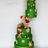 Christmas teddy cake