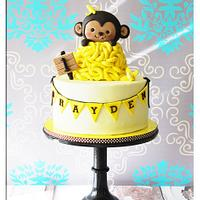 Monkey 1st birthday cake