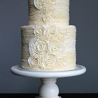 Romantic Buttercream Ruffle Wedding Cake