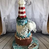 Maritim Wedding cake with lighthouse