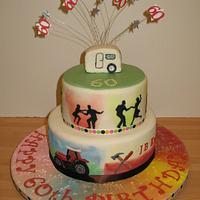 60th Birthday Cake - Tractors, Dancing, Caravan