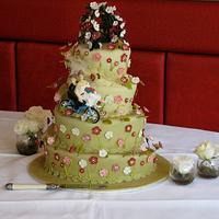 spiral green wedding cake by elisabethscakes