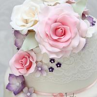 Summer Floral Wedding Cake
