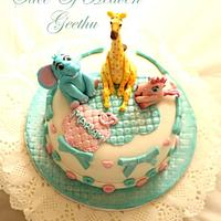 Baby animal toy cake