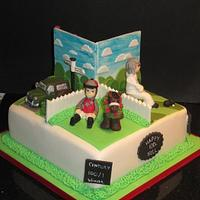 100th birthday 4 cakes in 1 , dancing,horse racing,morris minor, green bowls phew