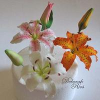 Gumpaste casablanca, stargazer and tiger lilies