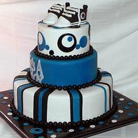 Blue/Black/White themed baby shower by Karen