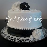 """Black and White 6"""" Double Layer, Buttercream Iced, Fondant Accents"""