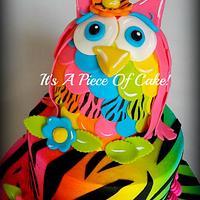 2Tier Neon Colored Owl/Zebra Print