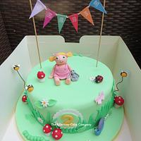 Little Girl in Garden Cake