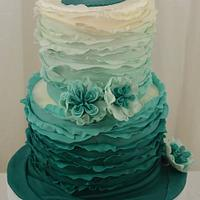 Turquoise Ombre Cake by Sugarpixy