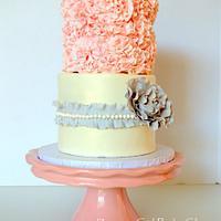 Pink & Grey Ruffled Wedding Cake by Maria @ RooneyGirl BakeShop