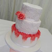 Ombre Coral & Lace Wedding Cake