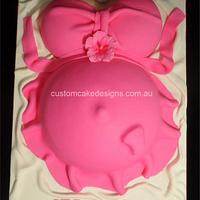 Hot Pink Pregnant Belly Cake