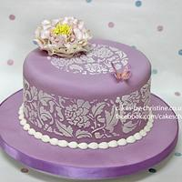 Peony and Stencil Chocolate Cake by Cakes by Christine