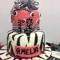 Zebra Print & Hot Pink birthday cake