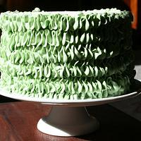 """Green """"Leaf Tip"""" Ruffle cake"""