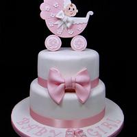 Baby Shower Pram Topper Cake