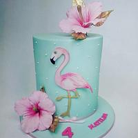 Flamingo birthday cake for Matilda