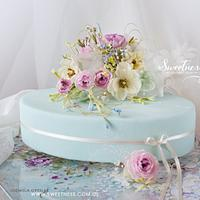 Delicate Cake with Wafer-Paper Bouquet