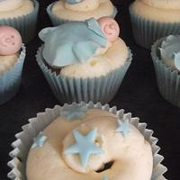 Blue baby boy baby shower cupcakes