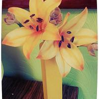 cold porcelain orange lilies with purple freesia flowers