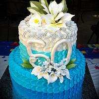Ombre Petal 50th Birthday cake!