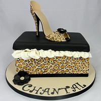 Leopard Print High Shoe & Shoe Box Cake