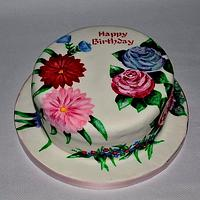 Hand painted cake with edible ink