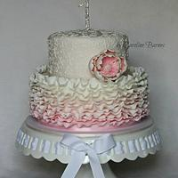 Pink ruffled 1st birthday cake