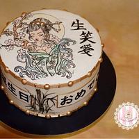 Japanese themed birthday cake